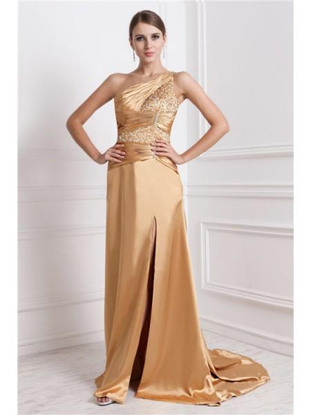 A-Line/Princess One-Shoulder Sleeveless Long Beading Elastic Woven Satin Dresses