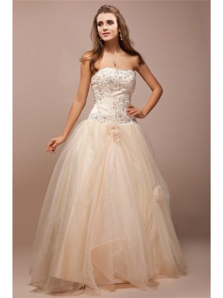 Ball Gown Strapless Sleeveless Lace Long Beading Net Satin Dresses