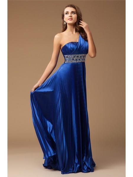 Sheath/Column One-Shoulder Sleeveless Long Beading Elastic Woven Satin Dresses