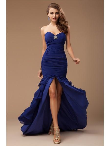 Trumpet/Mermaid Sweetheart Sleeveless Ruffles Beading Long Chiffon Dresses