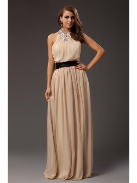 Sheath/Column Jewel Beading Sleeveless Long Chiffon Dresses