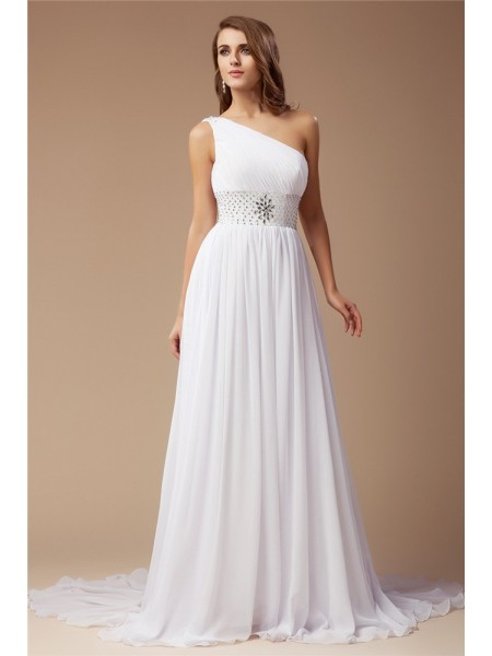 Sheath/Column One-Shoulder Beading Sleeveless Long Chiffon Dresses