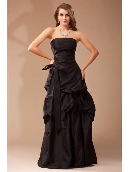 A-Line/Princess Strapless Sleeveless Ruffles Long Taffeta Dresses