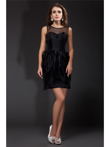 A-Line/Princess Scoop Ruffles Sleeveless Short Organza Cocktail Dresses