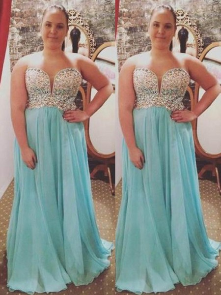 A-Line/Princess Sweetheart Sleeveless Beading Sweep/Brush Train Chiffon Plus Size Dresses
