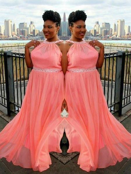 A-Line/Princess High Neck Sleeveless Beading Sweep/Brush Train Chiffon Plus Size Dresses
