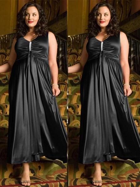 A-Line/Princess V-neck Sleeveless Beading Ankle-Length Elastic Woven Satin Plus Size Dresses