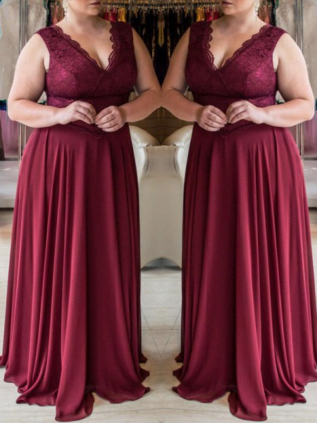 A-Line/Princess V-neck Sleeveless Lace Sweep/Brush Train Chiffon Plus Size Dresses