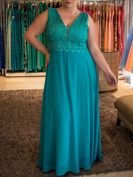 A-Line/Princess V-neck Sleeveless Applique Floor-Length Chiffon Plus Size Dresses
