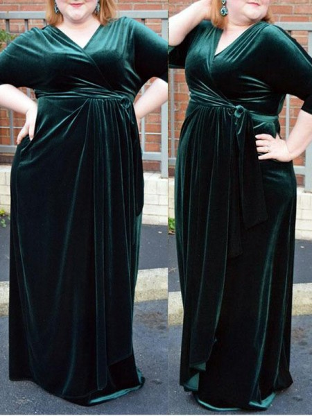 Sheath/Column V-neck 1/2 Sleeves Ruched Floor-Length Velvet Plus Size Dresses