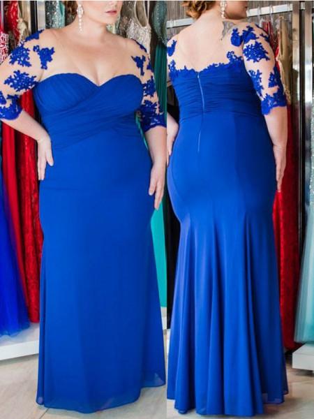 Sheath/Column Sweetheart 1/2 Sleeves Applique Floor-Length Chiffon Plus Size Dresses
