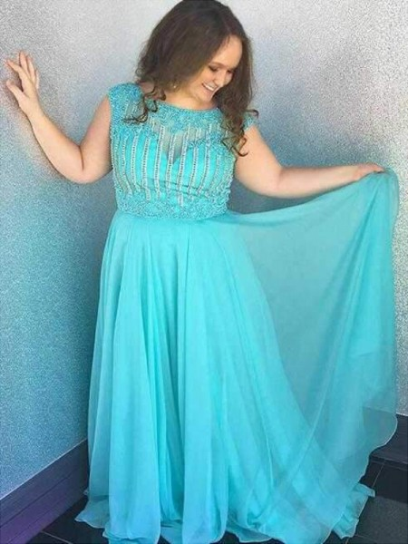 A-Line/Princess Bateau Sleeveless Beading Sweep/Brush Train Chiffon Plus Size Dresses