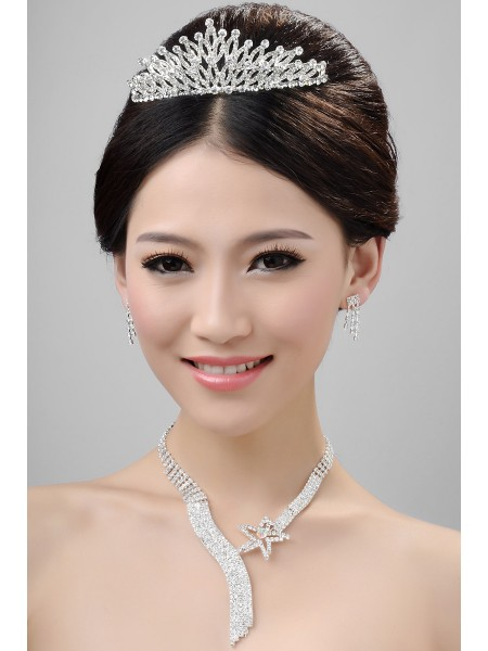 Nice Alloy Clear Crystals Wedding Headpieces Necklaces Earrings Set