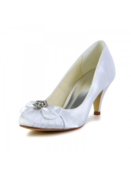 Women's Satin Cone Heel Closed Toe White Wedding Shoes With Bowknot Rhinestone