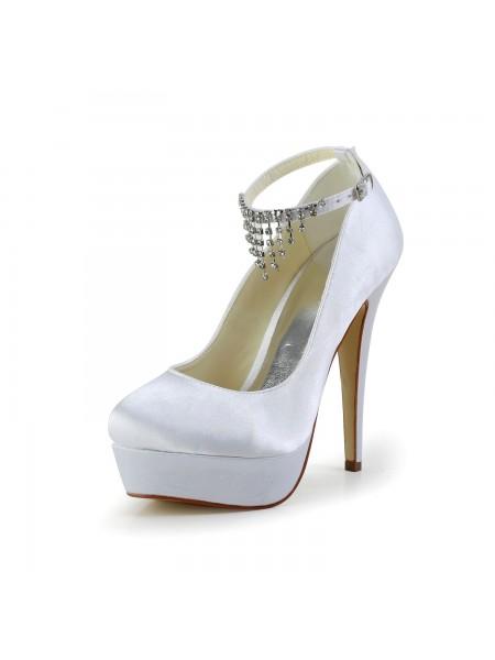 5e701071dc Women's Nice Satin Stiletto Heel Closed Toe With Rhinestone White Wedding  Shoes