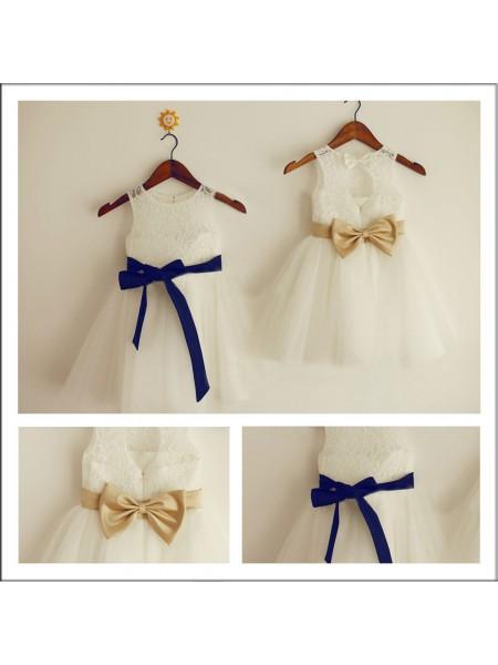 A-Line/Princess Scoop Sleeveless Bowknot Long Lace Flower Girl Dresses