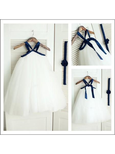 A-Line/Princess Spaghetti Straps Sleeveless Long Tulle Flower Girl Dresses