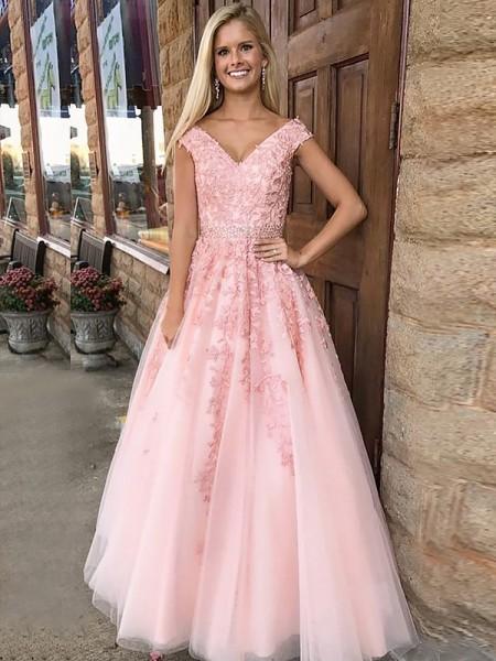 A-Line/Princess V-Neck Sleeveless Floor-Length Applique Tulle Dresses