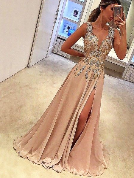 A-Line/Princess V-neck Sleeveless Floor-Length Applique Chiffon Dresses