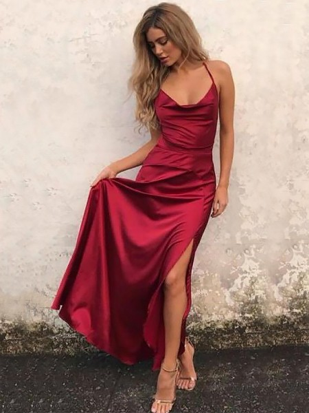 A-Line Spaghetti Straps Sleeveless Floor-Length With Ruffles Satin Dresses