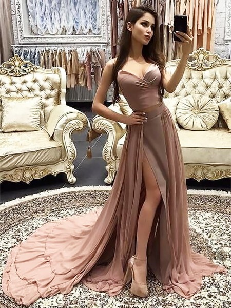 A-Line Sweetheart Sleeveless Sweep/Brush Train With Layers Chiffon Dresses