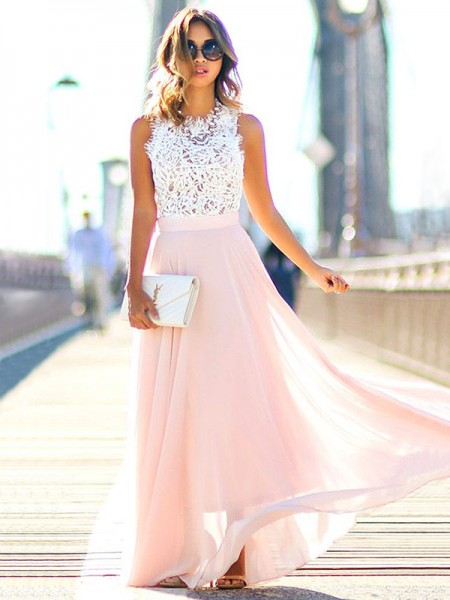 A-Line/Princess Jewel Sleeveless Floor-Length Lace Chiffon Dresses