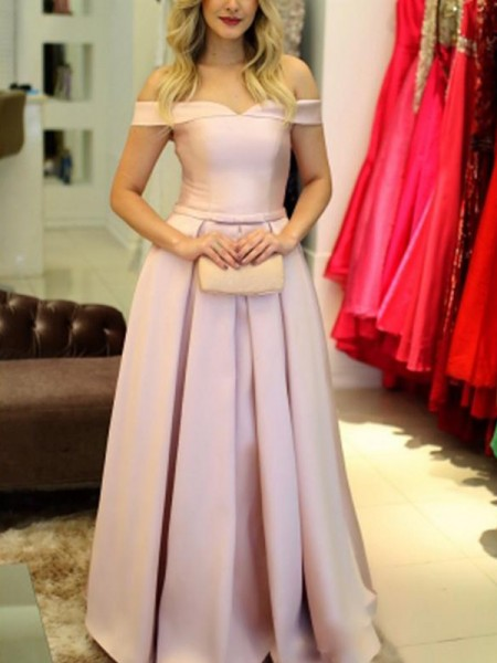 A-Line Off-the-Shoulder Sleeveless Floor-Length With Ruffles Satin Dresses