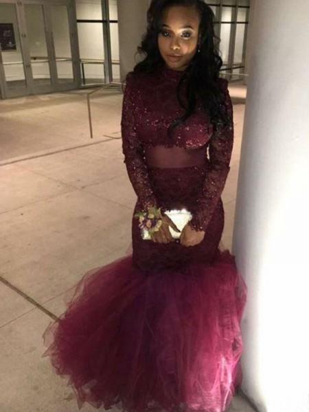 Trumpet/Mermaid Jewel Long Sleeves Applique Floor-Length Lace Dresses