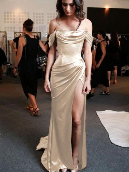 Sheath/Column Off-the-Shoulder Short Sleeves Sweep/Brush Train Silk like Satin Dresses