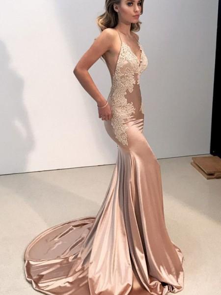 Trumpet/Mermaid Straps V-neck Sleeveless Applique Sweep/Brush Train Silk like Satin Dresses