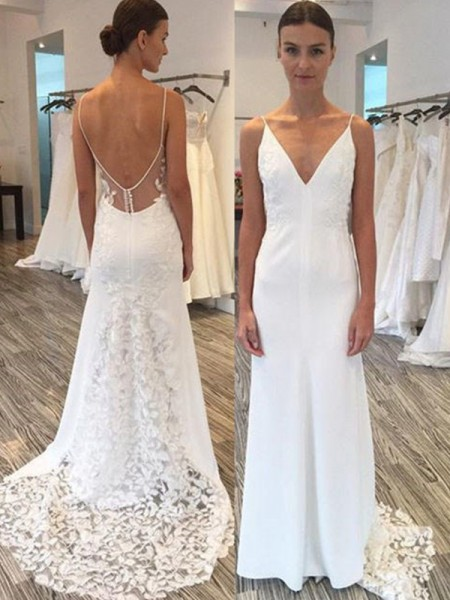 Sheath/Column Satin Lace Spaghetti Straps Sleeveless Sweep/Brush Train Wedding Dresses