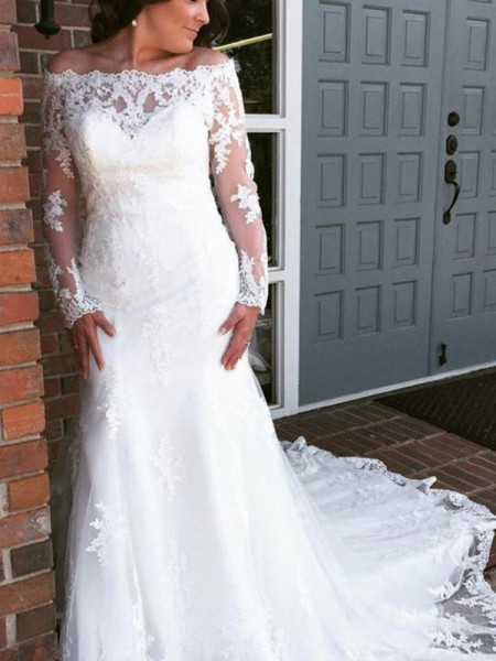 Trumpet/Mermaid Tulle Applique Off-the-Shoulder Long Sleeves Cathedral Train Wedding Dresses