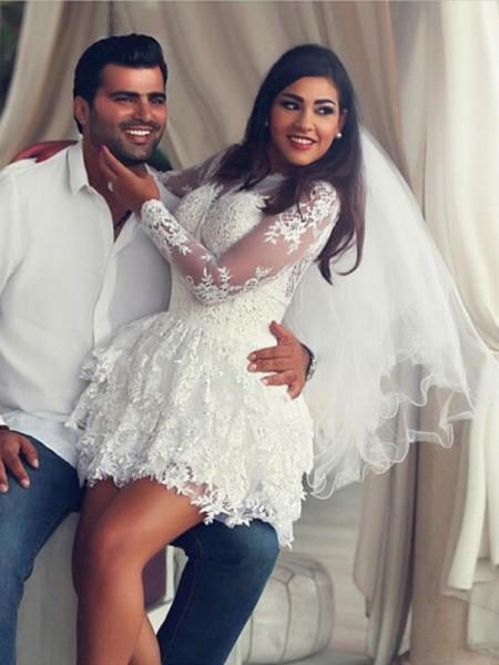 A-Line/Princess Scoop Lace Applique Long Sleeves Short/Mini Wedding Dresses
