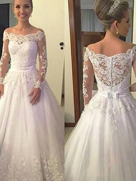 Ball Gown Tulle Applique Off-the-Shoulder Long Sleeves Court Train Wedding Dresses