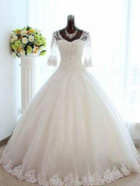 Ball Gown V-neck Beading Tulle 3/4 Sleeves Bateau Floor-Length Wedding Dresses