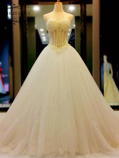 Ball Gown Sweetheart Tulle Beading Court Train Sleeveless Wedding Dresses