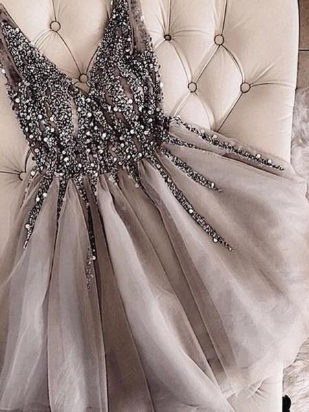 Short/Mini A-Line/Princess Sleeveless V-neck Tulle Dresses