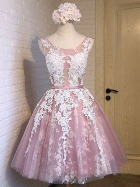 Short/Mini A-Line/Princess Sleeveless Scoop Tulle Dresses