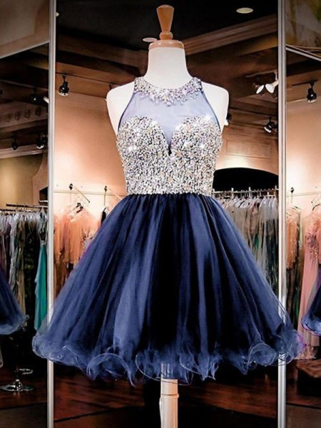 Short/Mini A-Line/Princess Sleeveless Bateau Tulle Dresses