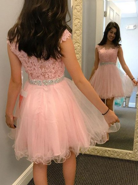 Short/Mini A-Line/Princess Sleeveless Bateau Tulle Dresses