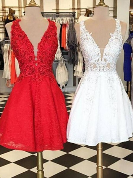 Short/Mini A-Line/Princess Sleeveless Bateau Lace Dresses