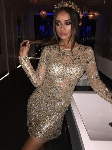 Short/Mini Sheath/Column Long Sleeves Scoop Sequins Dresses