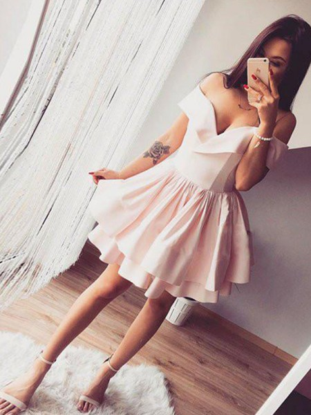Short/Mini A-Line/Princess Sleeveless Off-the-Shoulder Satin Dresses
