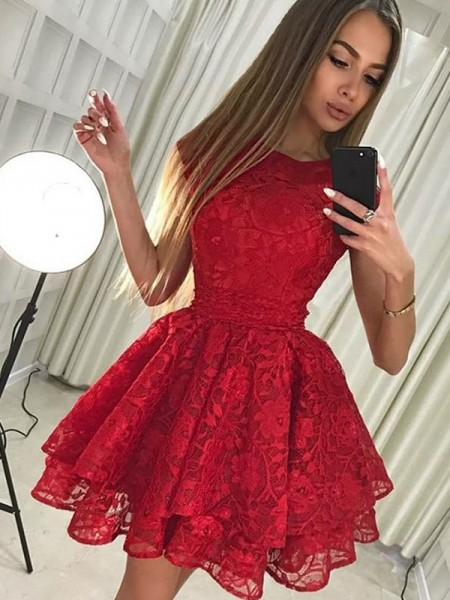 Short/Mini A-Line/Princess Sleeveless Scoop Lace Dresses