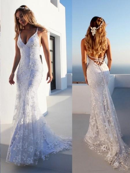 Trumpet/Mermaid Lace Spaghetti Straps Sleeveless Court Train Lace Wedding Dresses