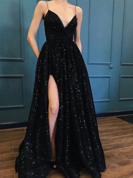 A-Line/Princess Spaghetti Straps V-neck Sweep/Brush Train Sequins Dresses