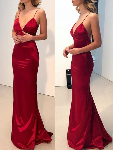 Sheath/Column Spaghetti Straps V-neck Sweep/Brush Train Silk like Satin Dresses