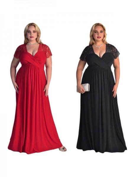 A-Line/Princess Short Sleeves V-neck Floor-Length Lace Chiffon Plus Size Dresses