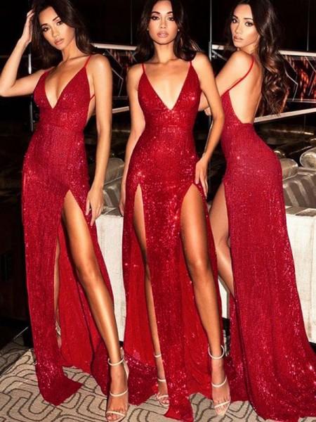Sheath/Column Sleeveless V-neck Sweep/Brush Train Sequins Dresses