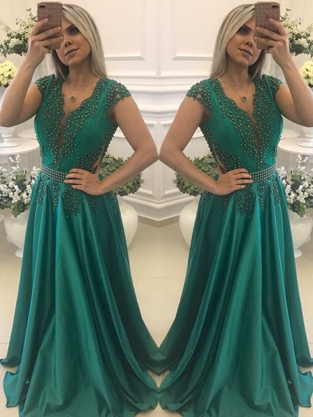 A-Line/Princess Short Sleeves V-neck Floor-Length Beading Silk like Satin Dresses